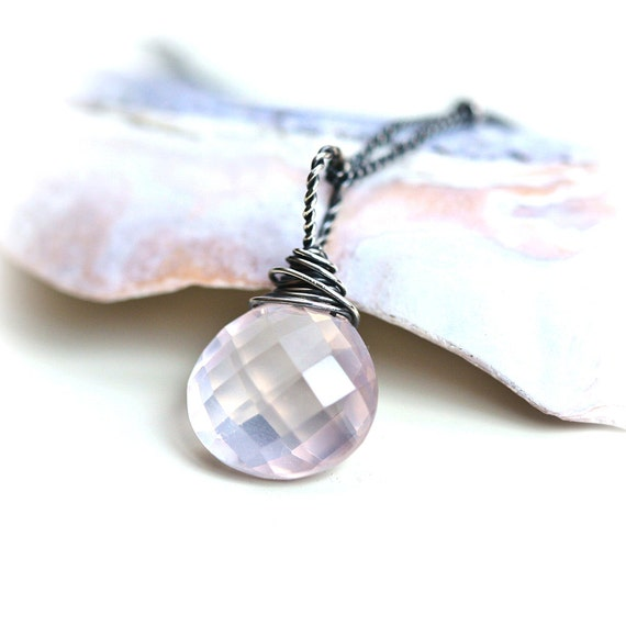 Simply Pink Rose Quartz Wire Wrapped Sterling Silver Necklace
