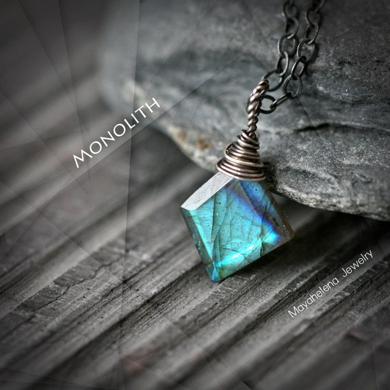 Monolith - Polygonal Labradorite Wire Wrapped Sterling Silver Necklace