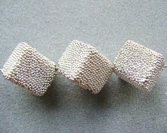 Bead, SQUARE,STERLING,  Dice, Pebble, Granulated, 10mm,15mm,  SILVER, Side Drill,   1 Pc