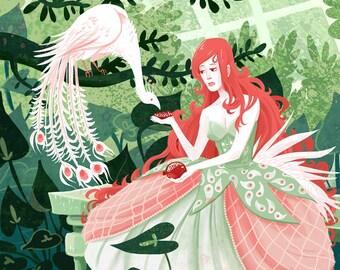 Peacock Princess and Pomegranate 8x10 art print