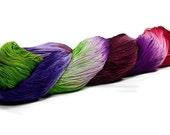 150 Yards Hand Dyed Cotton Crochet Thread Size 10 3 Ply Bright Green Dark Red Violet Dark Purple Dark Red Lavender Fine Cotton Yarn