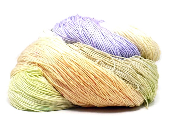 300 Yards Hand Dyed Cotton Crochet Thread Size 10 3 Ply Specialty Thread Lavender Chartreuse Peach Tan Hand Painted Fine Cotton Yarn