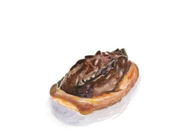 Chocolate Glazed Buttermilk Bar Donut Original Watercolor Painting