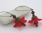 Scarlet Red Plumeria Crystal Flower Drops with Antique Brass Kidney Hoop Earrings
