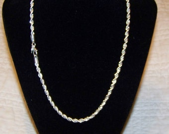 925 Sterling Silver 4mm Rope Chain With Free Shipping