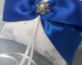 Silver Snowflakes Royal Blue Ring Bearer Pillow Winter Wedding Rhinestone Accent