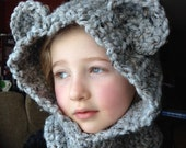 RESERVED: Super soft Crocheted Child's Hooded Cowl with Ears Custom Sizes & Colors