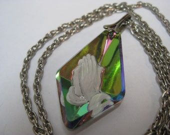 Pray Hands Aurora Glass White Necklace Colorful Vintage Pendant