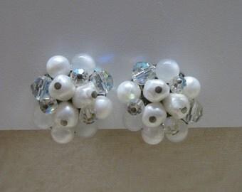 White Aurora Cluster Earrings Clip Vintage
