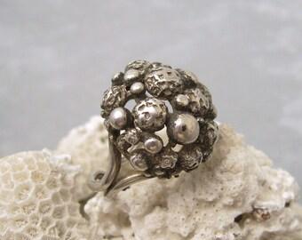 Sterling Modernist Ring Vintage 1950s Jewelry Kollmar Jourdan Germany R5939