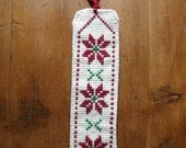Bordeaux Red, Green & White Palestinian Embroidered Bookmark