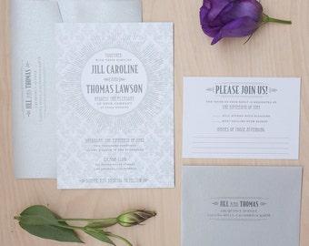 Art Deco Wedding Invitation, Silver invitation, Roaring 20's invitation, Great Gatsby Invitation SAMPLE