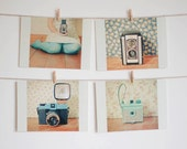Postcard Set, Camera Photography, Still Life Photo, Pastel Mint Green and Tan, Floral, Retro, Affordable Art - Happy