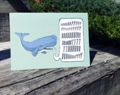 "Green Whale Birthday Card - A2 - 4.25"" x 5.5"""