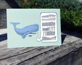 """Green Whale Birthday Card - A2 - 4.25"""" x 5.5"""""""