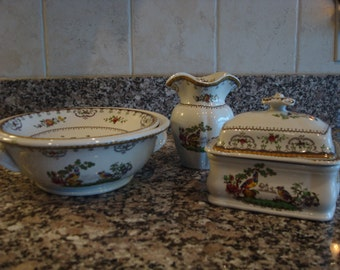 Copeland Late Spode Chelsea bathing set-  bowl with strainer, soap dish with strainer and lid and vase- exotic birds- rare