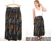 20 DOLLAR SUPER SALE! Black Maxi Skirt - Long Floral Skirt - Glitter Metallic Skirt