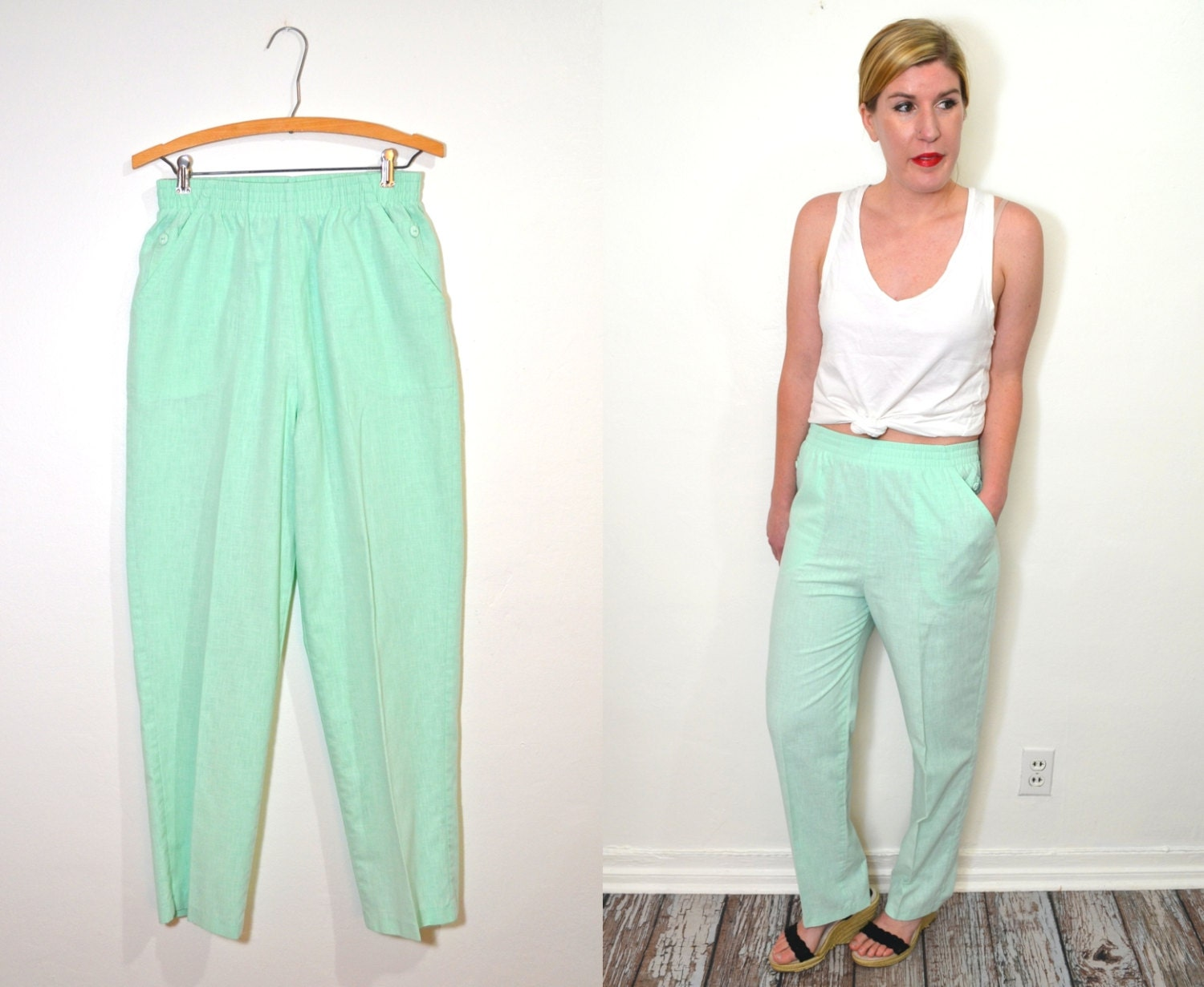 Mint Green Pants High Waisted Pants Linen Pants Womens