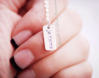 Je T'aime Necklace - Solid 925 Sterling Silver I Love You French Word Tag Charm Pendant  - Free Domestic Shipping