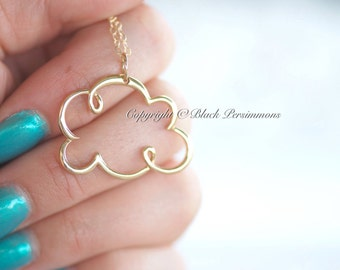 Cloud Cloud Necklace - Large Natural Bronze Pendant - 14K Gold Filled Delicate Chain - Insurance Included