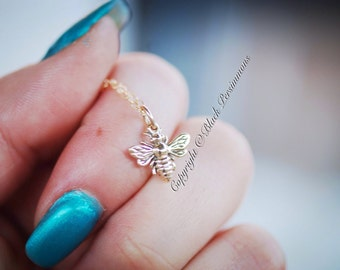 Honeybee Bumble Bee Necklace - Tiny Natural Bronze Auspicious Feng Shui Charm - Insurance Included