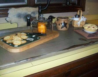 Rustic Primitive Breadboard  Lg Kitchen SINK COVER or Stove Top Cover Board Cobblestone