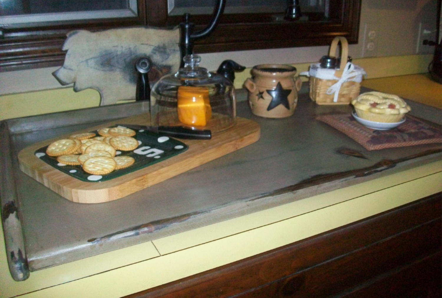 Primitive Breadboard Lg Kitchen SINK COVER or Stove Top Cover