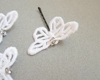 White butterfly hair clips, set of three, lace butterfly bobby pins
