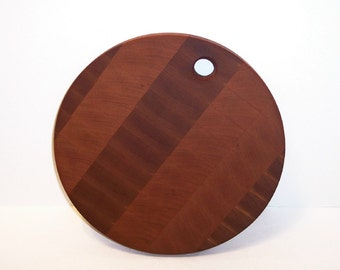 OOAK End Grain Cutting Board, Chopping Block, ROUND Handcrafted from Cherry Hardwood