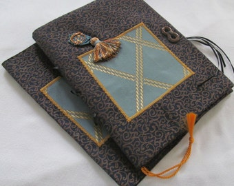 Gold Lattice Navy Blue Jacquard Fabric Book Cover and Journal Set