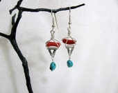 Sterling Silver Triangle Dangle Earrings with Coral and Turquoise Beads RKS395