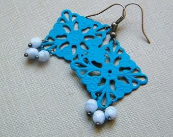 Deep Blue Lace Rectangle Earrings