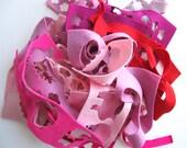 Wool Felt Scrap Bag, Pink and Red Felt, Remnant Assortment, Small Felt Pieces