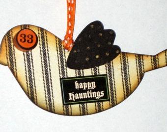 Halloween Chipboard Bird Ornament - Happy Halloween Trick or Treat