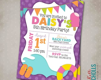Custom Pool Party Invitation, Summer Wave Water Birthday Party Invite, Printable, Bright Colors - Girl Colors #B114-G