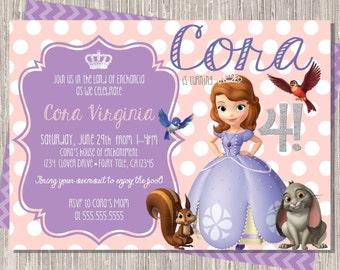 Sophia the First Birthday Invitation  - Princess Sophia  -  Clover  - lavender   pink  - printed or printable