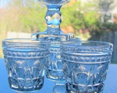 1950's Gleaming Crystal Clear Vintage Indiana Pressed Glass Wine Goblets Set of 4 (Four)