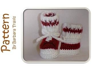 Crochet Tennis Shoe Baby Bootie Pattern 3 sizes