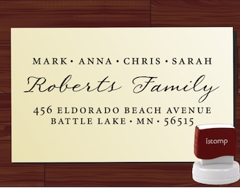 Custom Address Stamp - Return Address Stamp - Personalized Calligraphy Address Self Inking Stamper - Envelope Address - Name Stamp - (9012D)