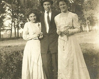 Vintage Photograph Short Victorian Mother With Grown Daughter And Son Antique Photo