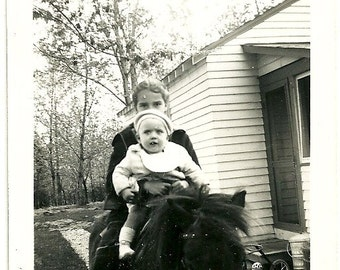 Horseback Riding Vintage Photograph Little Girl And Baby Brother Ride Pony Snapshot Photo