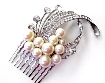 Pearl and Crystal Bridal Comb - Hair Comb - Antique Silver Rhinestone - Vintage Style Hair Piece - Pearl and Rhinestone