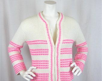 Vintage 60s Springtime Pink and White Cardigan, Sz M