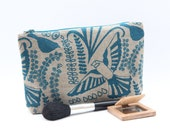 Blue Bird Zipper Pouch, Organic Linen Cosmetic Bag, Valentine's Gift for Her, Large Make up Bag, Large Pencil Case, Gift for Girlfriend