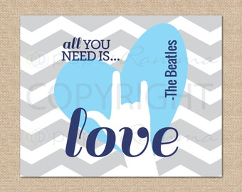 All You Need Is Love, Beatles Art // Rock and Roll Nursery / Kids Room Giclée Art Print // Classic Rock Art // Music Nursery //N-X53-1PS AA1