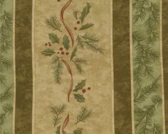 Christmas Fabric Holly Taylor Birchwood Lane Stripe in Brown 1/2 Yard