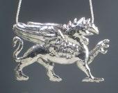 Griffin Necklace Sterling Repousse Sterling Silver Artisan Greek Mythology Statement Necklace Silver Repousse Griffin Necklace OOAK