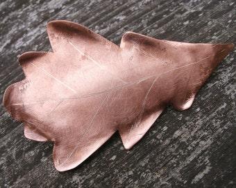 Hammered Copper Oak Leaf Brooch Shawl Pin