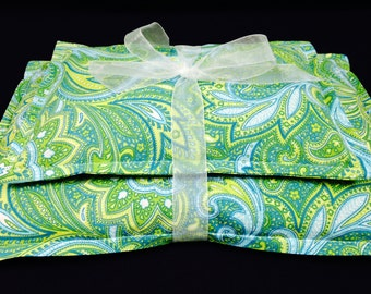 Microwavable Heating Pad, Corn Bag, Heat Therapy, Ice Pack, Corn Heating Pad, Relaxation Spa Gift Set- Blue Green Paisley Fabric