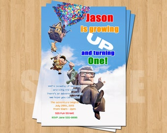 Up Pixar Movie Birthday Party Personalized Invitation .JPEG File Colorful